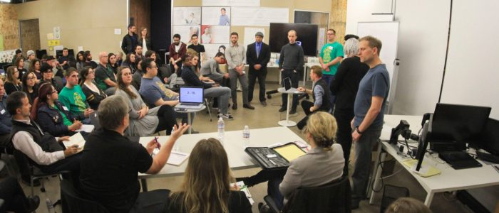 A group of entrepreneurs at The Eugene Regional Accelerator during Startup Weekend